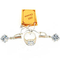 Серебряный набор с золотыми накладками 001