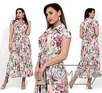 Длинное платье с цветочным принтом, розовый