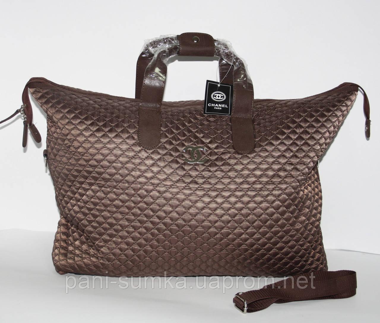 Дорожная сумка - саквояж Chanel 5338 коричневая стеганая, текстиль, фото 1 4b994ec37c2