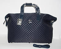 Дорожная сумка - саквояж Chanel 5338 синяя  стеганая, текстиль