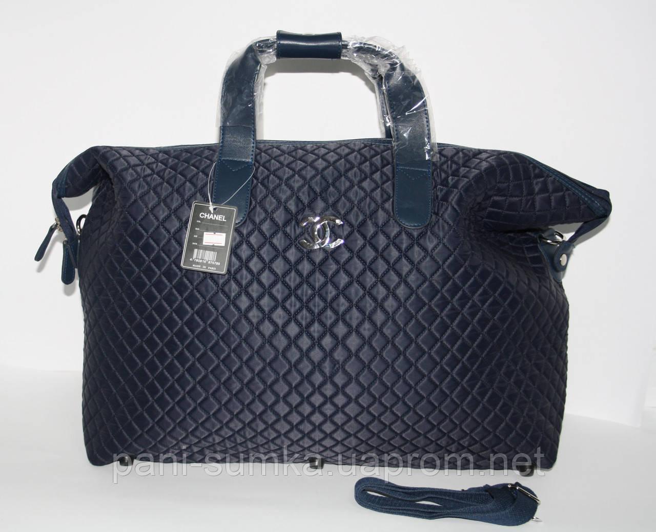 Дорожная сумка - саквояж Chanel 5338 синяя стеганая, текстиль, фото 1 95379dafd96