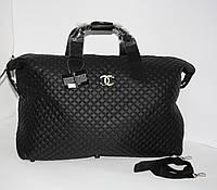 Дорожная сумка - саквояж Chanel 5338 черная  стеганая, текстиль