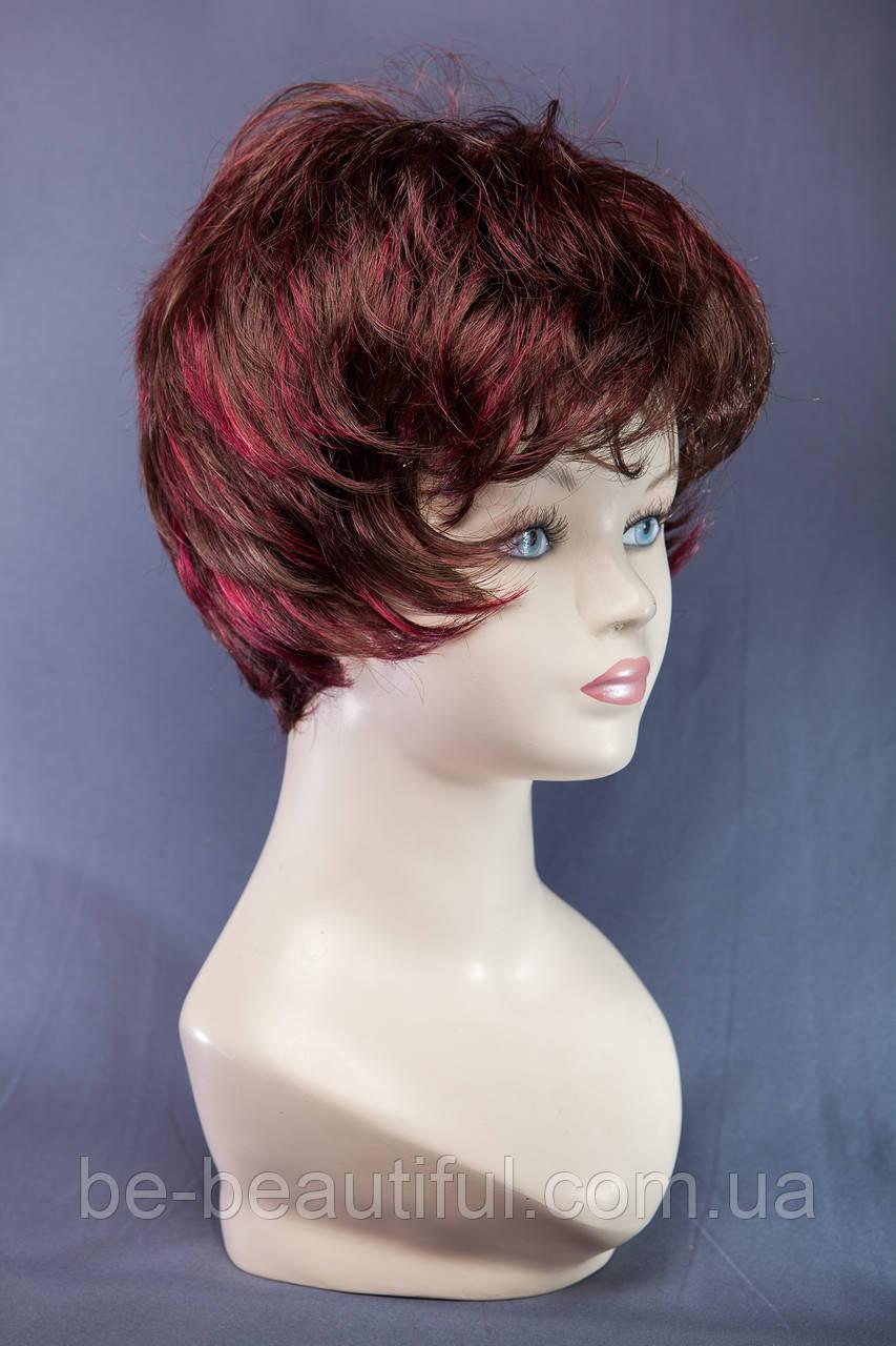 Короткие парики №13.Цвет мелирование шоколад с красным