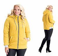 Молодежная, весенняя , осенняя, демисезонная куртка  на молнии, батал, с капюшоном р с 44 по 58 желтая (10)