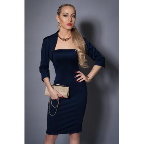 Летний женский костюм платье с болеро темно-синий