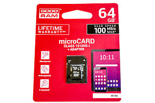 Карта памяти GOODRAM 64GB micro SDHC (UHS-1) class10 + SD Adapter (M1AA/64GB)