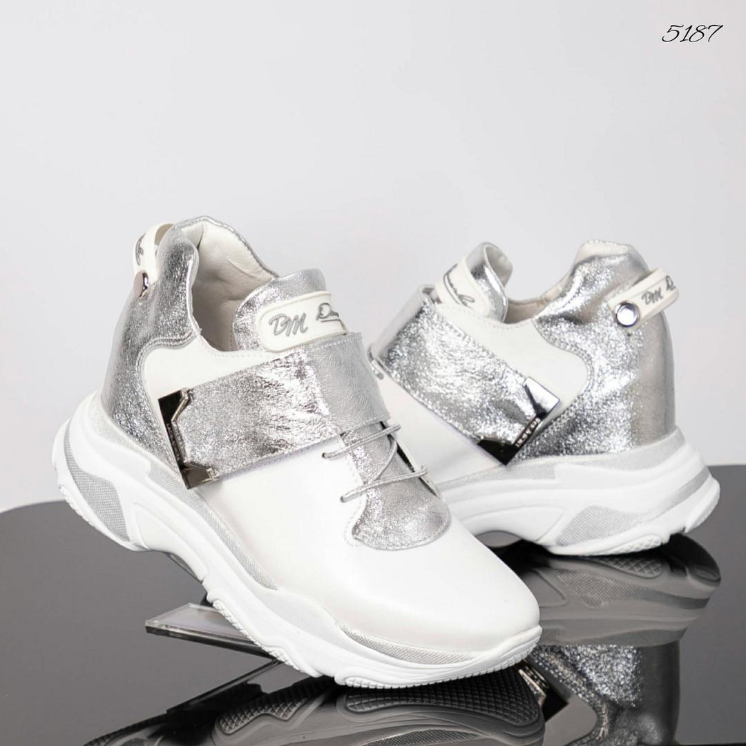 Сникерсы женские DM белые/серебро