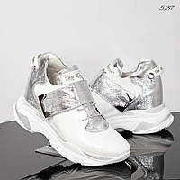 Сникерсы женские DM белые/серебро, фото 1