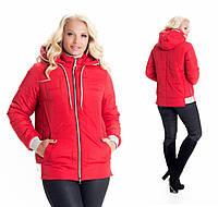 Молодежная, весенняя , осенняя, демисезонная куртка  на молнии, батал, с капюшоном р с 44 по 58 красная (10)