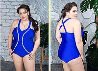 Женский купальник с моделирующим эффектом, электрик с 48-82 размер, фото 1