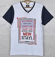 """Футболка детская """"New Stayl"""" для мальчиков 9-10-11-12 лет (134-152 см). Тёмно-синяя с красным. Оптом"""