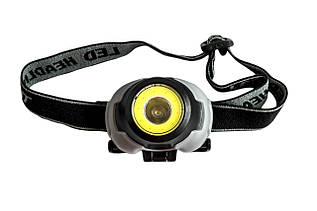 Фонарик налобный 1802-COB+LED
