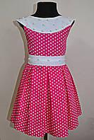 Детское летнее платье для девочек 5-10 лет малинового цвета, фото 1