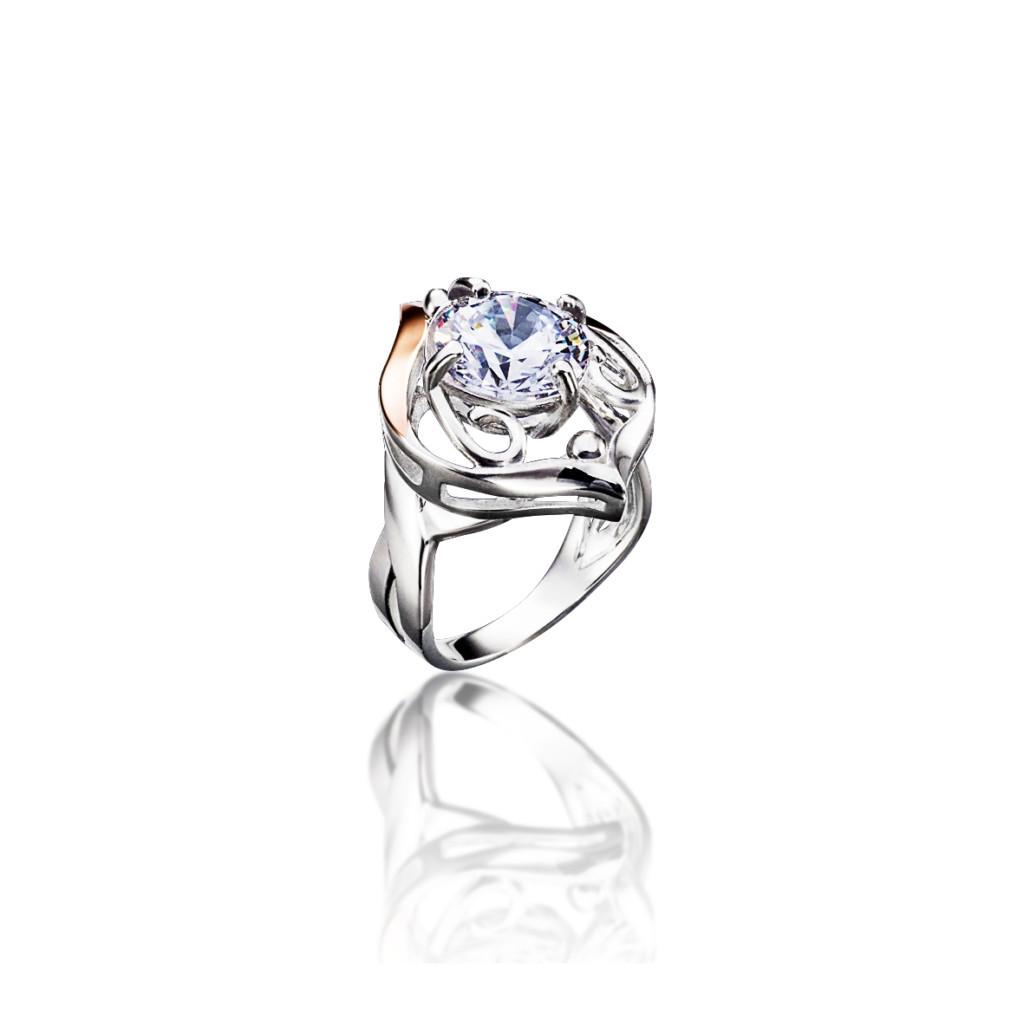 Серебряное кольцо с элементами золота КАМЕЛИЯ