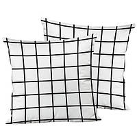 Подушка декоративная Белая клетка 45х45 см (45IS_URB003)