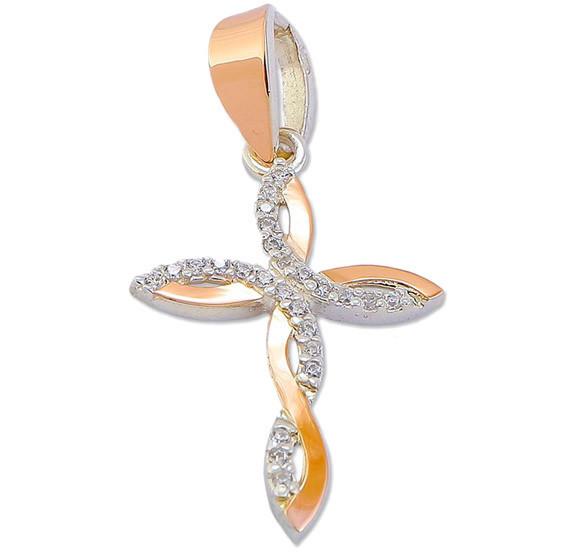 Серебряный крестик с золотыми пластинами 30553