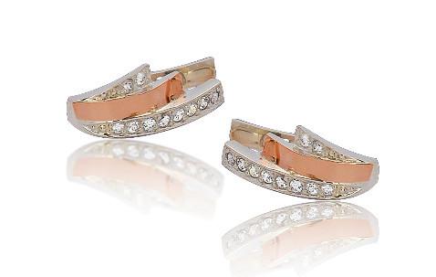 Серебряные серьги с золотыми пластинами ВИКА