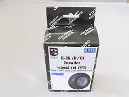 Резиновые колеса с дисками для сборной модели самолета A-26 (B/C) Invader. 1/72 HALBERD MODELS 7224