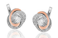 Серебряные серьги с золотыми пластинами БОГЕМА (ЦИРКОН), фото 1