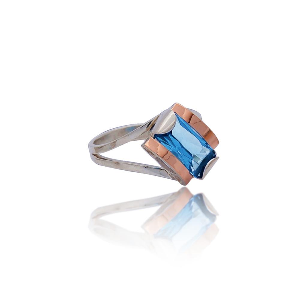 Кольцо серебряное 925 пробы и золота 375 пробы ЛИАНА