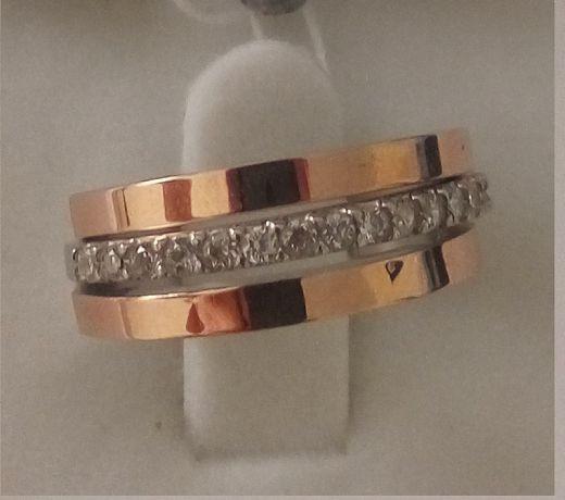 Кольцо из серебра с золотом АМУР-2