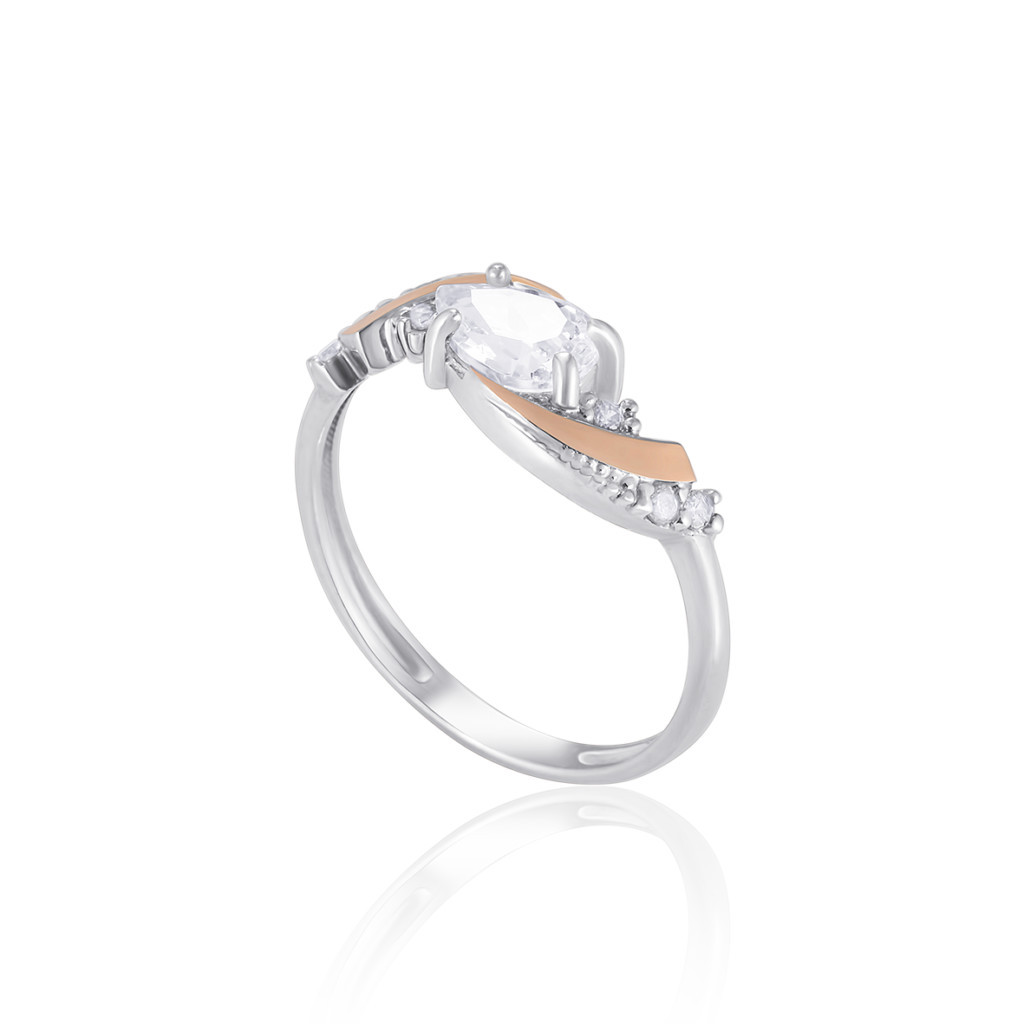 Серебряное кольцо с золотыми пластинками и фианитами МАТИЛЬДА