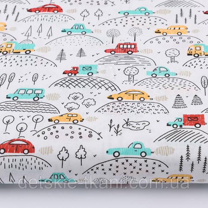 """Ткань хлопковая """"Машинки на холмах"""" красные, жёлтые, бирюзовые на белом (№2214)"""