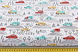 """Ткань хлопковая """"Машинки на холмах"""" красные, жёлтые, бирюзовые на белом (№2214), фото 2"""