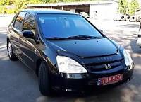 Дефлектор капота (мухобойка) Honda Civic 2001-2005 hatchback 3d-5d, Vip Tuning, HD13