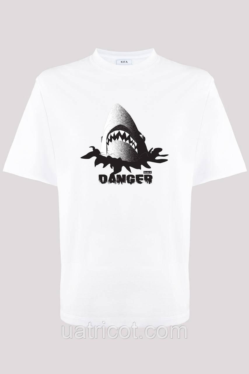 Футболка мужская KIFA ФМХ-019/15 Акула DANGER белая