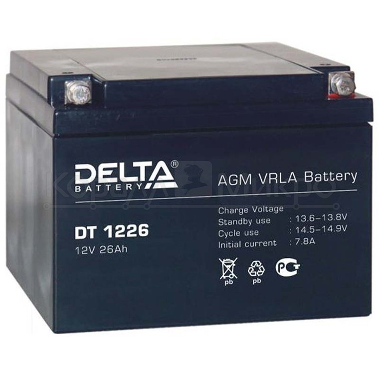 Аккумулятор Delta DT 1226 (12V 26Ah)