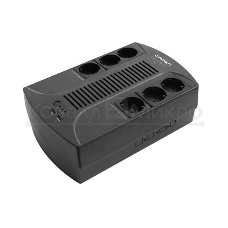 ИБП CROWN CMUS-265 EURO SMART (650VA\360W, 6хEuro, 12V/7AHх1, пластик)