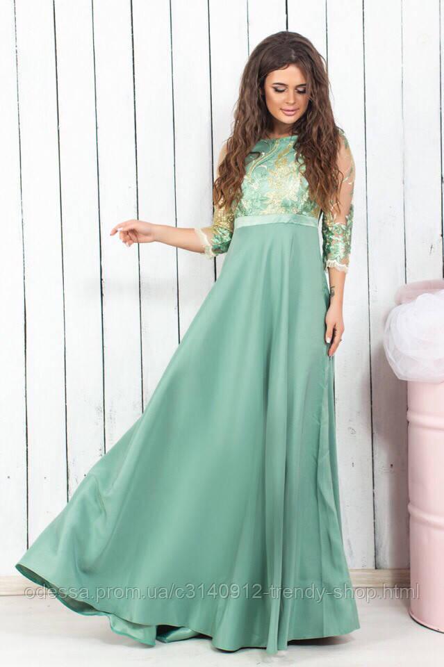 Платье женское нарядное оливкового цвета
