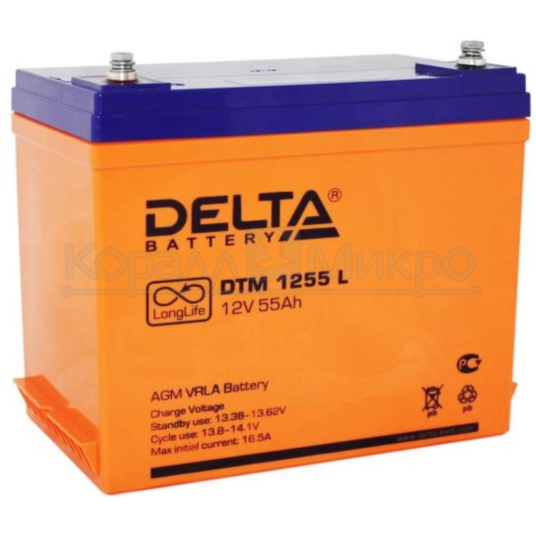 Аккумулятор Delta DTM 1255 L (12V 55Ah)