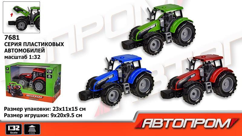 Трактор 7681 інерційний., 3 кольори, резинові колеса, в коробці 23*15*11см
