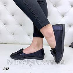 38 размер Женские черные туфли AVRORA с отливом синего на низком ходу натуральная кожа 2019