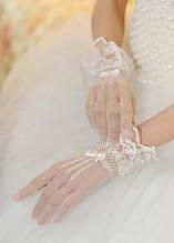 Белые перчатки в сетку с кружевом А-1130