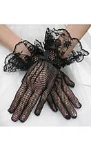 Черные перчатки в сетку с кружевом А-1129
