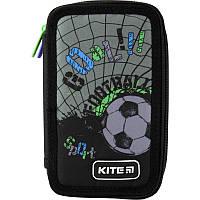 Пенал школьный Kite для мальчика на 2 отдела без наполнения Футбол Cool K19-623-4