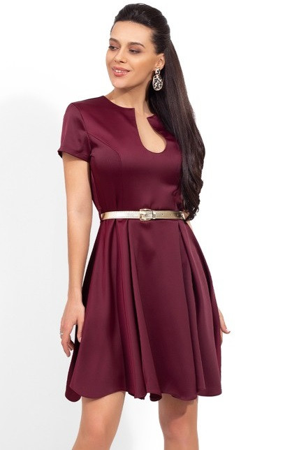 Платье-мини из атласа-жатка Д-1649
