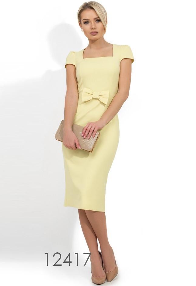 Желтое платье-футляр с бантом на талии Д-1228