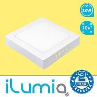 Накладной светодиодный светильник iLumia 12W (950Lm), 4000К (нейтральный белый свет), 165мм (квадрат)