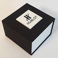 Черная подарочная картонная коробочка для наручных часов HUBLOT. Хубло
