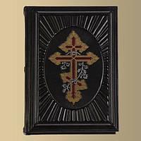 Библия крест увитый лозой элитная кожаная подарочная книга