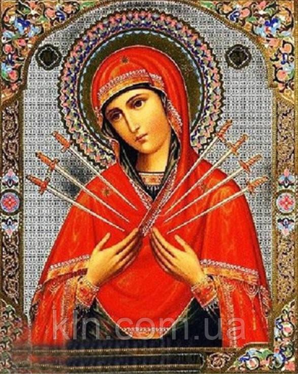 Алмазная вышивка Семистрельная икона Божией Матери 34 х 24 см (арт. PR722) частичная выкладка