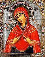 Алмазная вышивка Семистрельная икона Божией Матери 34 х 24 см (арт. PR722) частичная выкладка, фото 1