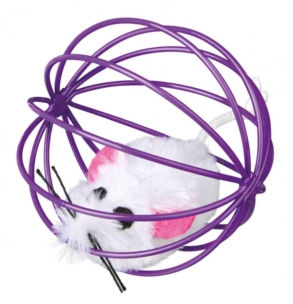 Trixie TX-4115 игрушка для кошек Мышь в шаре с погремушкой
