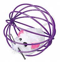 Trixie TX-4115 игрушка для кошек Мышь в шаре с погремушкой, фото 1