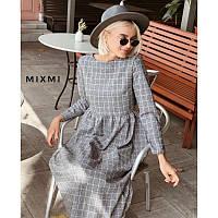 Платье клетка лен мод.095