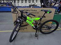 Спортивный Подростковый велосипед Azimut Tornado 24 дюйма,дисковые тормоза черно-салатовый , фото 1